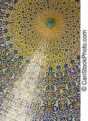 cúpula, de, a, mesquita, oriental, ornamentos, de, isfahan,...