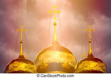 cúpula dourada, luz solar, tradicional, igreja, russo
