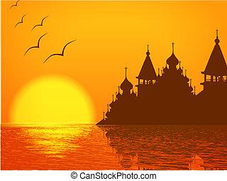 cúpula, pôr do sol, silueta, igreja