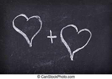 cœurs, école, amour, tableau