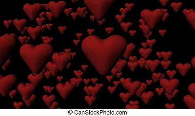 cœurs, écran, comig, rouges