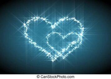 cœurs, étincelant