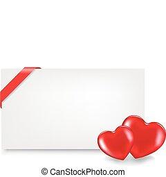 cœurs, étiquette, cadeau, vide