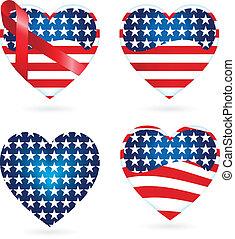 cœurs, américain, rubans