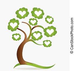 cœurs, amour, logo, arbre, famille