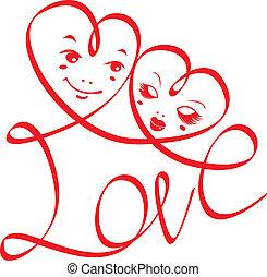 cœurs, amour, mot