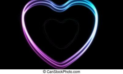 cœurs, animation, vidéo, pourpre, néon, bleu, incandescent