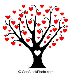 cœurs, arbre.