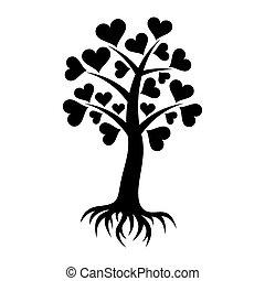 cœurs, arbre, racines