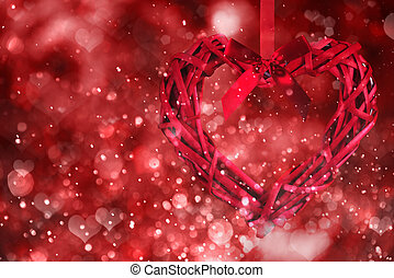 cœurs, arrière-plan., jour, rouges, valentin