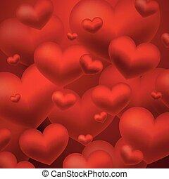 cœurs, arrière-plan rouge, résumé