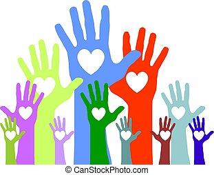 cœurs, atteindre, mains