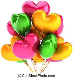 cœurs, ballons, formulaire, fête