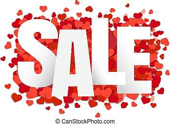 cœurs, bannière, vente