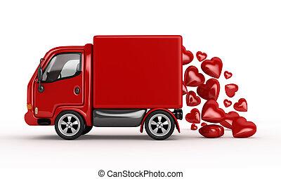 cœurs, blanc, 3d, fourgon, valentin