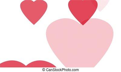 cœurs, blanc rouge, boucle
