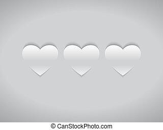 cœurs, blanc, trois
