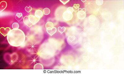 cœurs, bokeh, brillant, lumières