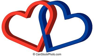 cœurs, cœurs, deux, lié