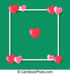 cœurs, cadre, arrière-plan vert