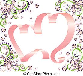 cœurs, cadre, deux, ruban