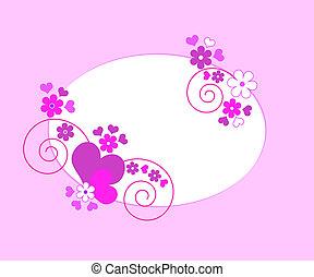 cœurs, cadre, fleurs
