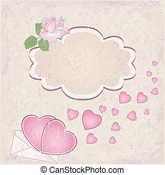 cœurs, cadre, vecteur, jour, petite amie