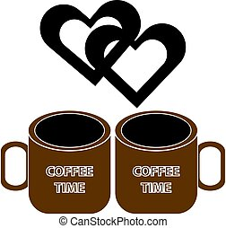 cœurs, café, fond blanc, tasse