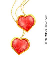 cœurs, chaîne, doré