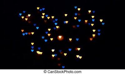 cœurs, clignotant, saint-valentin
