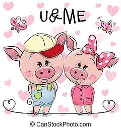 cœurs, cochons, deux, fond