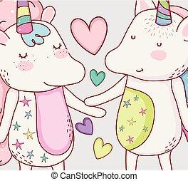 cœurs, couple, gentil, animal, licorne