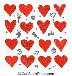 cœurs, croquis, vecteur, ensemble