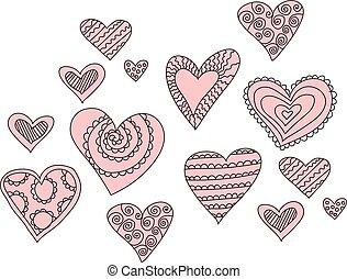 cœurs, croquis, vecteur, troupeau, illustration