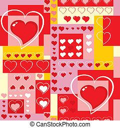 cœurs, cubes., fond, seamless, vector.