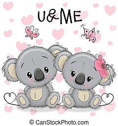 cœurs, deux, fond, koala