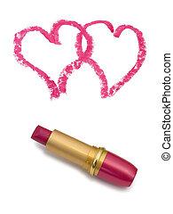 cœurs, deux, rouge lèvres