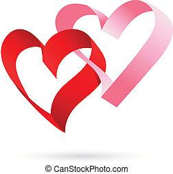 cœurs, deux, ruban