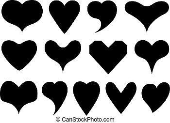 cœurs, différent, ensemble