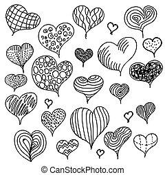 cœurs, différent, ensemble, hand-drawn, icônes
