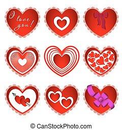 cœurs, différent, neuf, conception