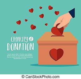 cœurs, donation, mains, charité