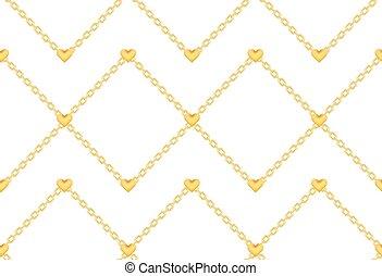 cœurs, doré, anneau, élégant, chaîne, modèle