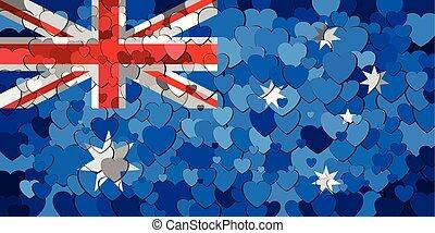 cœurs, drapeau, australie, fond, fait