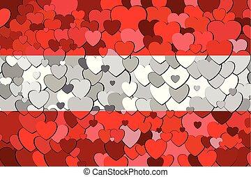 cœurs, drapeau, fait, autriche, fond