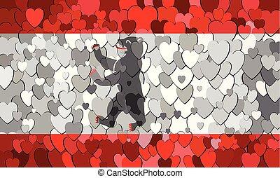 cœurs, drapeau, fait, berlin, fond