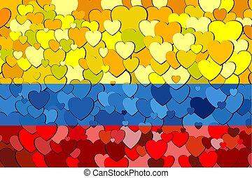 cœurs, drapeau, fait, colombien, fond