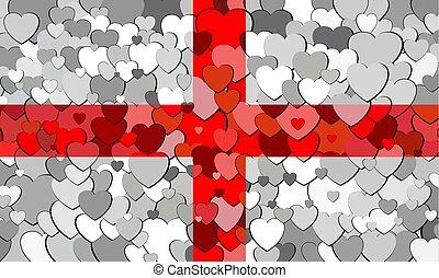 cœurs, drapeau, fait, fond, anglaise