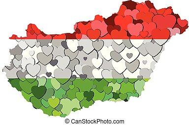 cœurs, drapeau, fait, fond, hongrie