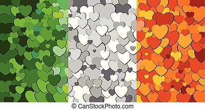 cœurs, drapeau, fait, fond, irlande